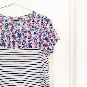 Joules | Suzy Mixed Floral Stripe Jersey Tee Sz 8